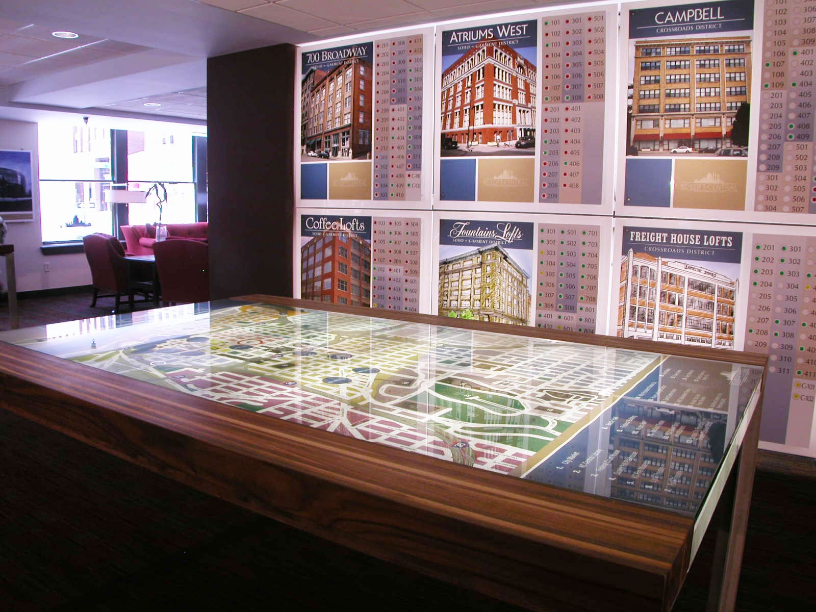 The KCLoftCentral Leasing Office and Sales Center Custom Light Table